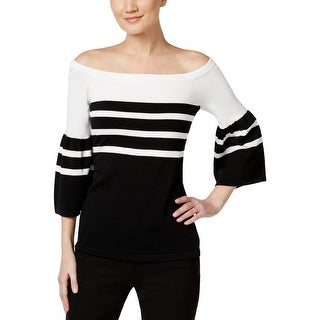 Calvin Klein Womens Pullover Top Off-The-Shoulder 3/4 Sleeve