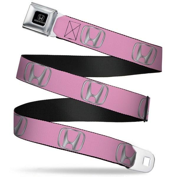 Honda Logo Repeat Pink Silver Fade Webbing Seatbelt Belt Fashion Belt