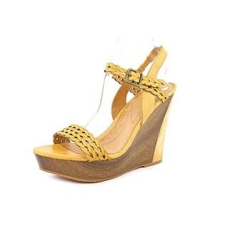 Naya Bellina Open Toe Leather Wedge Heel