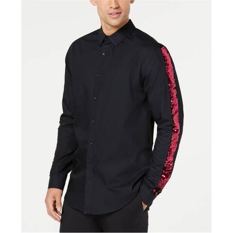 I-N-C Mens Sequin Stripe Sleeve Button Up Shirt, Black, Medium