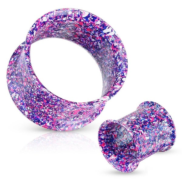 Metallic Splatter Blue and Purple 316L Surgical Steel Double Flared Tunnel (Sold Individually)