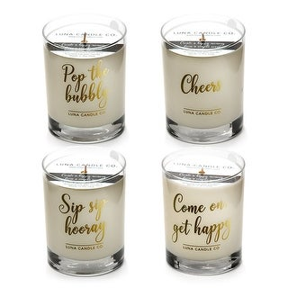 Premium Soy Wax Jar Candles, Peach Belini & Vanilla Scents (Set of 4)