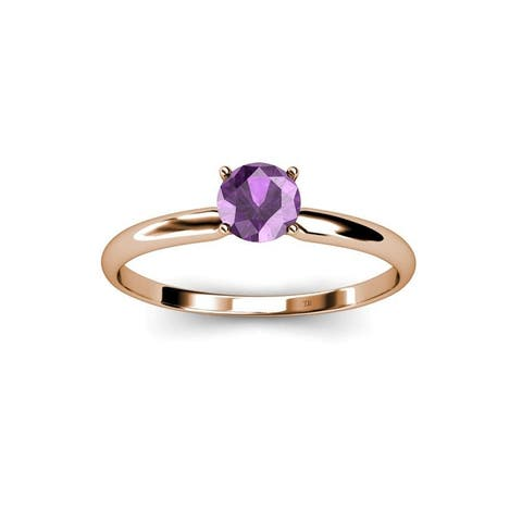 TriJewels Round Amethyst 3/8 ct Womens Solitaire Engagement Ring 14K Gold