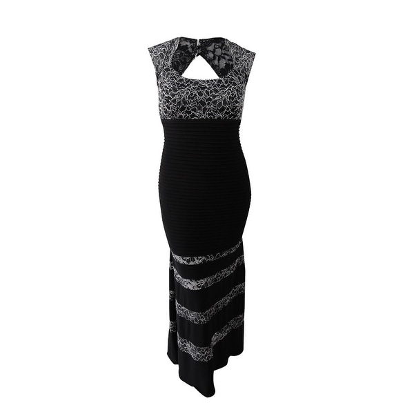 90c3101c8cb Shop Xscape Women s Plus Size Embroidered Lace-Trim Gown - Black silver -  Free Shipping Today - Overstock.com - 24260138