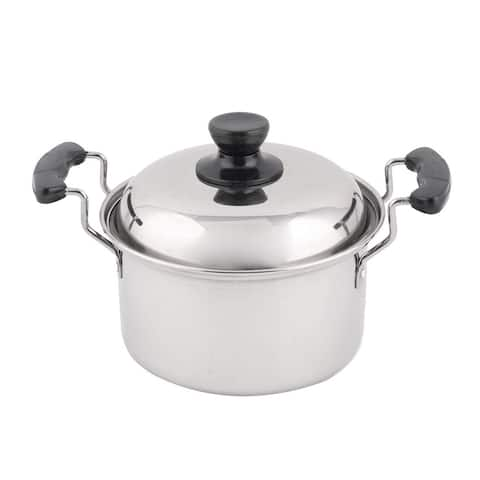 "Stainless Steel Cooking Soup Porrige Stockpot Pot 10.2 ""es Length - Black,Silver - 10.2"" x 7.1"" x 5.9""(L*W*H)"