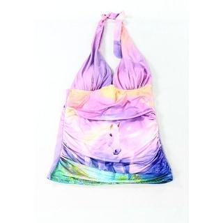 Lisa Blue NEW Purple Size 6 Junior Printed Halter Swim Tankini Top