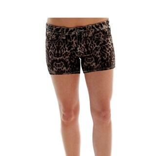 Cowgirl Tuff Western Shorts Womens Stretch Pockets Dark Leopard SHLEOP