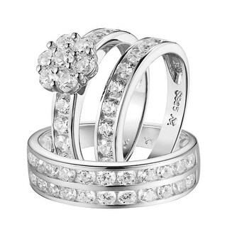 His & Her Wedding Rings Trio Set Band Engagement 925 Silver Simulated Diamond