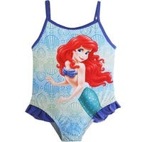 Disney Baby Girls Sky Blue Purple Little Mermaid One Piece Swimsuit 12-24M