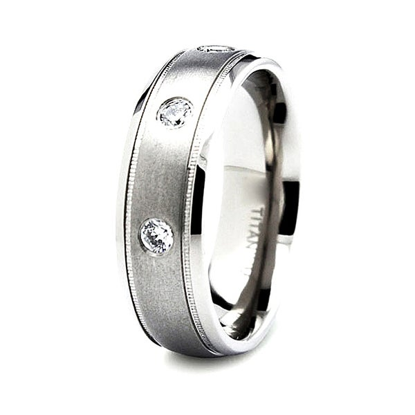 7mm Satin Finished Titanium Ring with 3 CZs (Sizes 6-12)