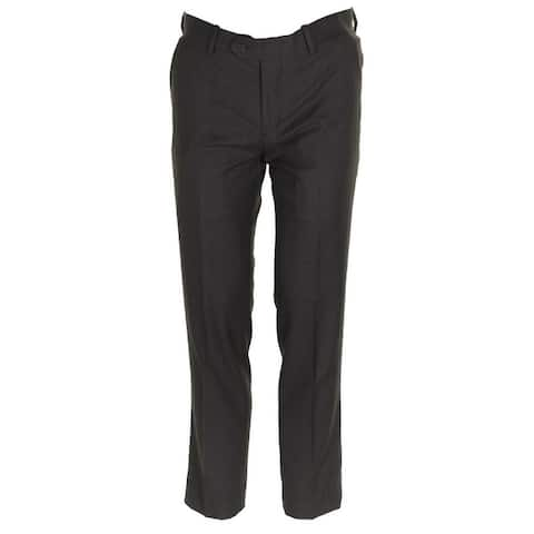 Bar Iii Mens Slim-Fit Brown Mini-Checkered Creased Dress Pants - 30