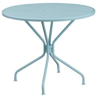 Westbury Round 35.25u0027u0027 Sky Blue Steel Table For Indoor/Outdoor/Patio/