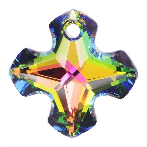 Swarovski Elements Crystal, 6867 Greek Cross Pendant 28mm, 1 Piece, Crystal Vitrail Medium P