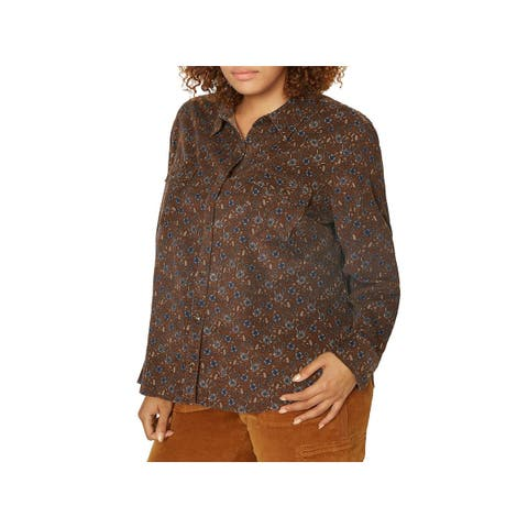 Sanctuary Womens Plus Button-Down Top Floral Print Long Sleeves - 1X