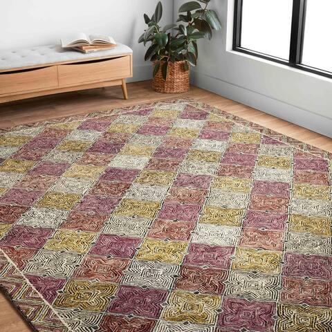 Alexander Home Kaleidoscope Geometric Border Hand-Hooked Wool Rug