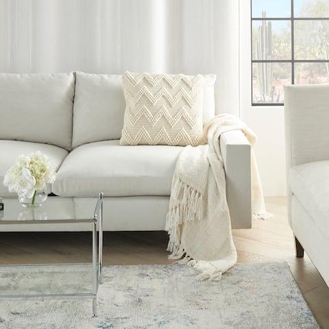 """Large Modern Farmhouse Textured Chevron Ivory Throw Pillow 20"""" x 20"""""""