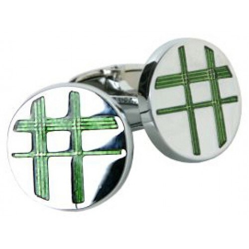 Silver and Green Cufflinks
