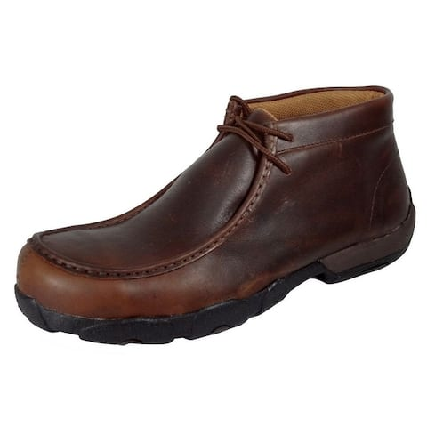 Twisted X Work Shoes Mens Composite Toe Driving Mocs Brown
