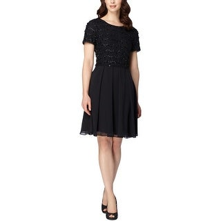 Tahari ASL Womens Cocktail Dress Lace Overlay Beaded