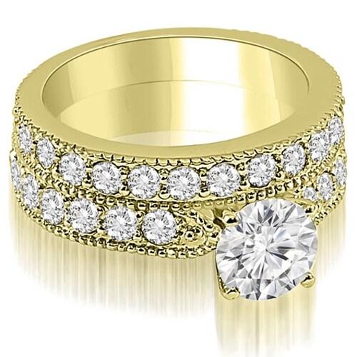 2.45 cttw. 14K Yellow Gold Antique Milgrain Round Diamond Bridal Set