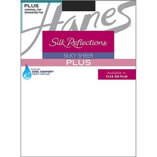 Hanes Silk Reflections Plus Sheer Control Top Enhanced Toe Pantyhose - Size - 6P - Color - Jet