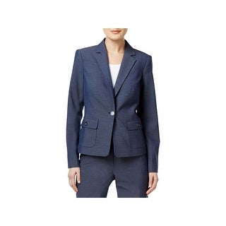 Calvin Klein Womens One-Button Blazer Grommet-Detail Pockets