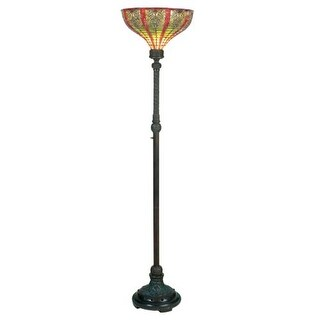 Meyda Tiffany 13942 Stained Glass / Tiffany Torchiere Lamp from the Dublin Collection