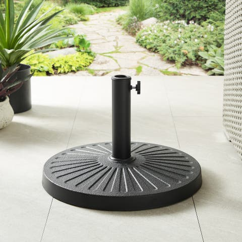Havenside Home Outdoor Patio Black Round Daisy Umbrella Base