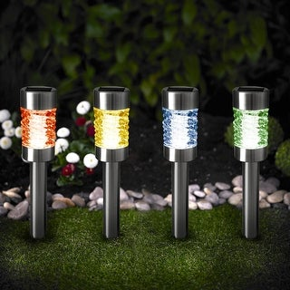 Kanstar Pack of 4 Solar Powered Pathway Light Steel Glass Color Changing