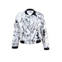Tahari Women's Plus Size Floral-Print Bomber Jacket - ivory white/black