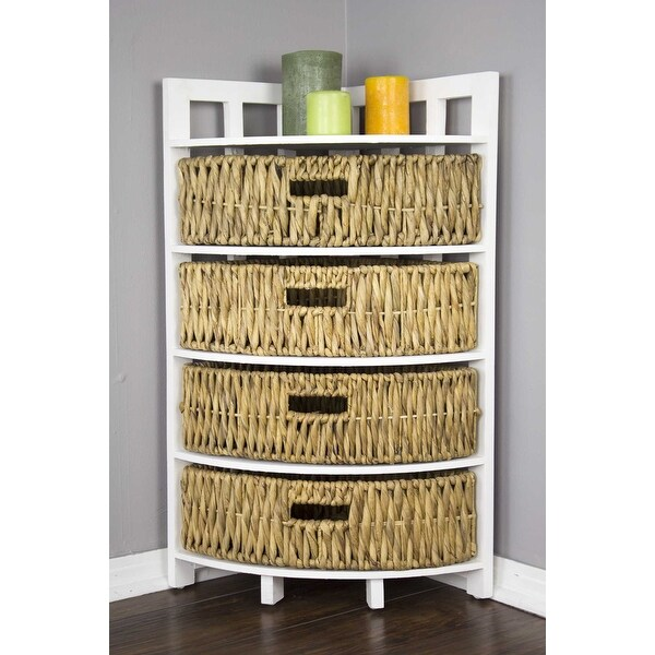 Corner Storage Cabinet W 4 Hyacinth Baskets Wood Mdf Water Hyacinth