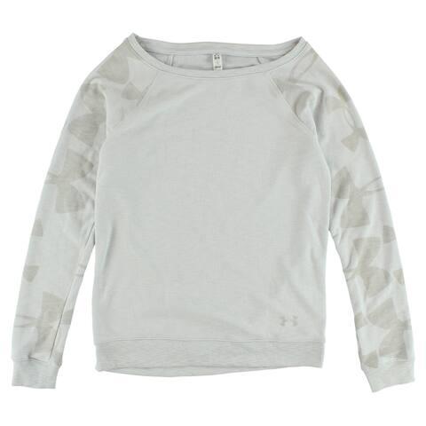 Under Armour Womens Kaleidelogo Pullover Long Sleeve Crew Sweatshirt Grey - XS