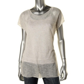 Eileen Fisher Womens Crepe Sheer Tunic Top