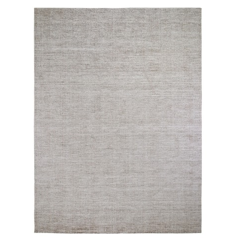 "Shahbanu Rugs Gray Wool And Silk Modern Hand Loomed Oriental Rug (9'2"" x 12'1"") - 9'2"" x 12'1"""
