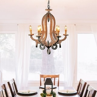 Link to Farmhouse 6-Light Candle Distressed Wood Chandelier Similar Items in Outdoor Ceiling Lights