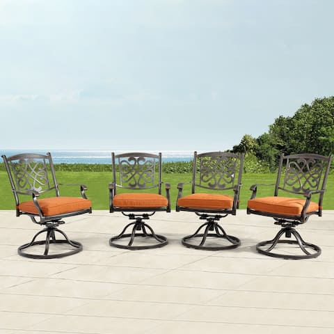 Set of 4 Cast Aluminum Flower-Shaped Backrest Swivel Chairs - N/A