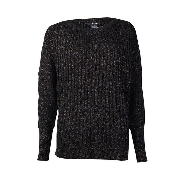 Alfani Women's Ribbed Metallic Dolman Sleeve Sweater - Black/Copper