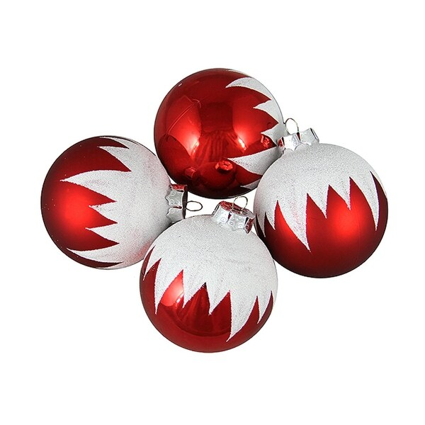 """4ct Snow-capped Red Shatterproof Christmas Ball Ornaments 3"""" (75mm)"""