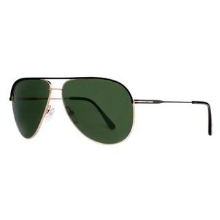 Tom Ford Erin TF 466 05N Black/Gold Green Aviator Sunglasses - Matte Black/Gold - 61mm-12mm-140mm