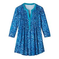 Women's  Tunic Top - Teal Mosaic Pleated-Front 3/4 Sleeve Shirt