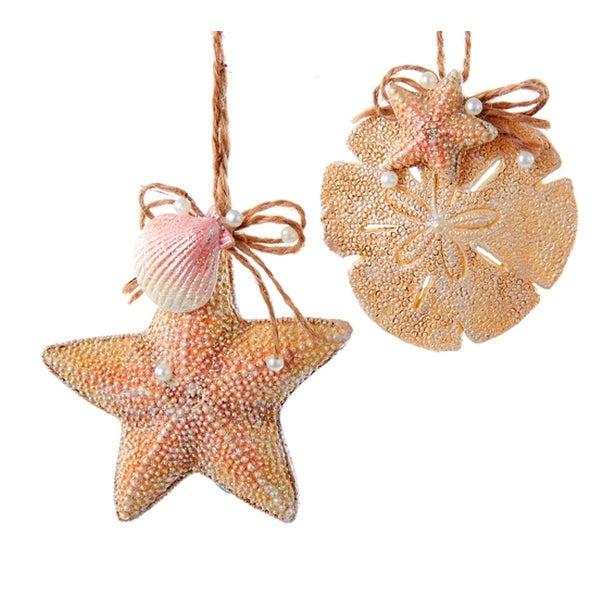 kurt adler coastal starfish and sand dollar holiday ornaments set of 2