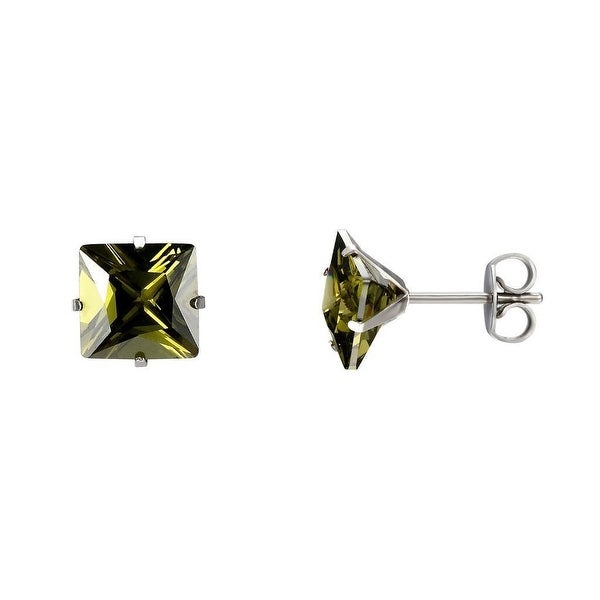 Green Princess Cut Earrings 7mm Solitaire CZ Studs Mens Ladies Stainless Steel