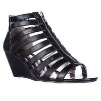 MG35 Strappy Wedge Zip-Up Sandals, Black