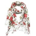 Women's Fashion Floral Soft Wraps Scarves - F1 Red - Large - Thumbnail 0