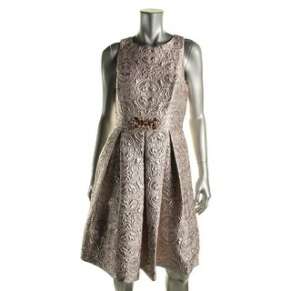 Eliza J Womens Jacquard Metallic Cocktail Dress