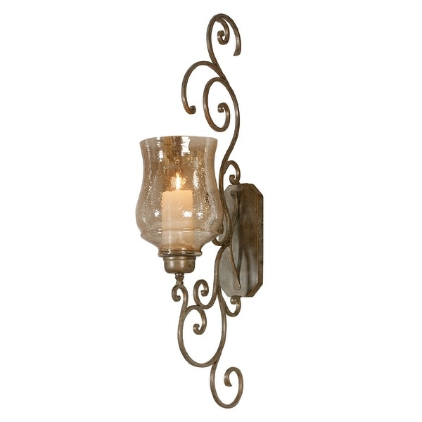 "39"" Amber Glass Metal Curl Wall Sconce With Candle - N/A"