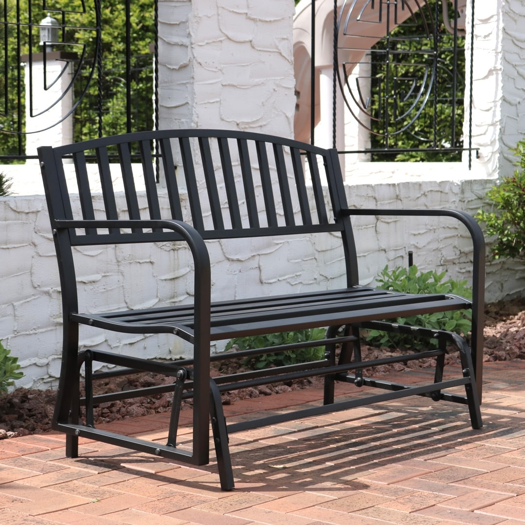Superb Sunnydaze Black Steel Metal Outdoor Patio Garden Glider Bench 50 Inch Gmtry Best Dining Table And Chair Ideas Images Gmtryco