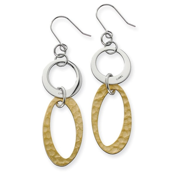Chisel Stainless Steel Gold IP Plated Circles Link Earrings