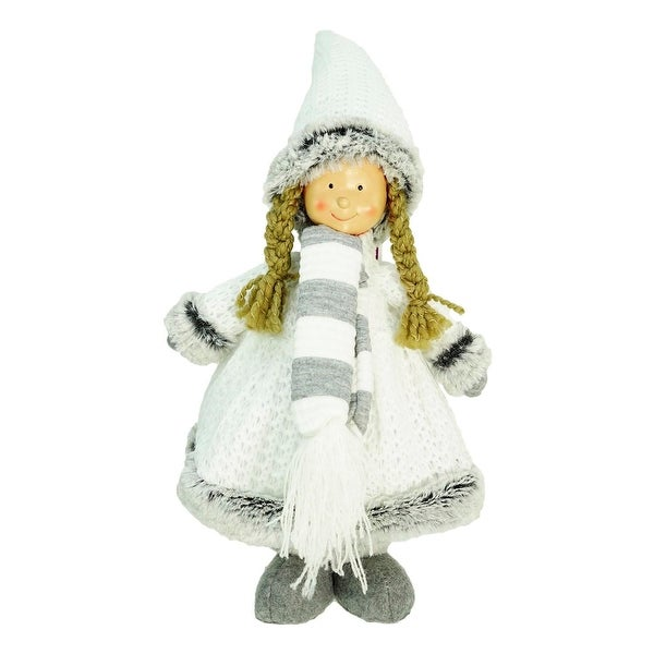"13"" Decorative Gray and White Wintry Girl Christmas Table Top Figure"