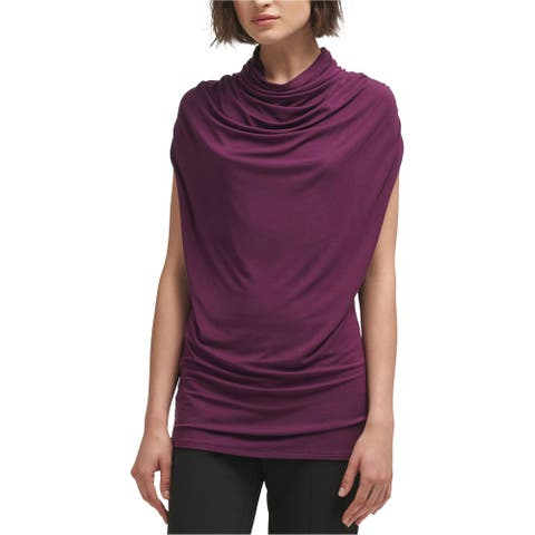 DKNY Womens Solid Sleeveless Blouse Top, purple, X-Small